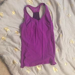 Purple Fitted Workout Tank Razor Back Built in Bra